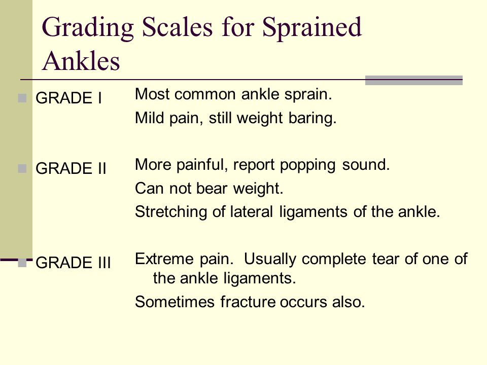 Grading Scales for Sprained Ankles GRADE I GRADE II GRADE III Most common ankle sprain. Mild pain, still weight baring. More painful, report popping s