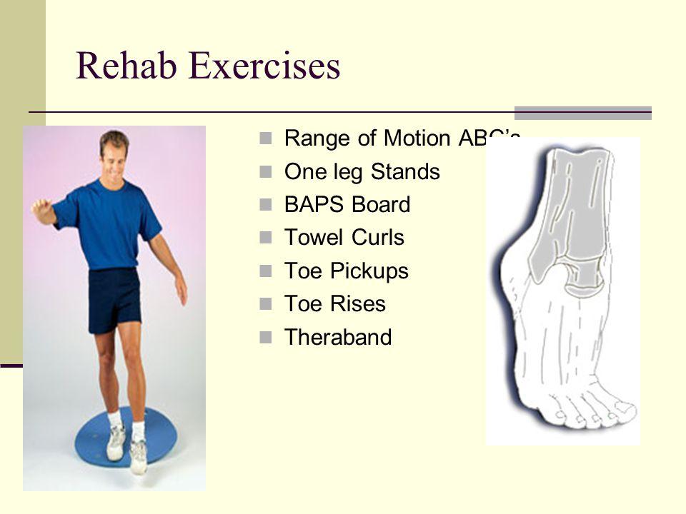 Rehab Exercises Range of Motion ABC's One leg Stands BAPS Board Towel Curls Toe Pickups Toe Rises Theraband