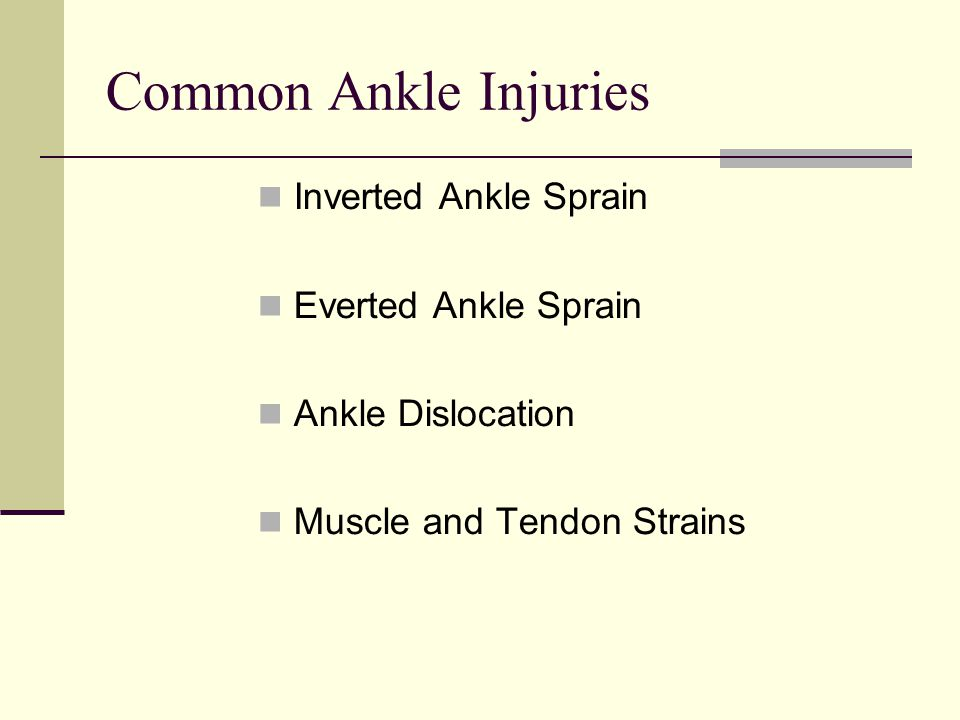 Common Ankle Injuries Inverted Ankle Sprain Everted Ankle Sprain Ankle Dislocation Muscle and Tendon Strains