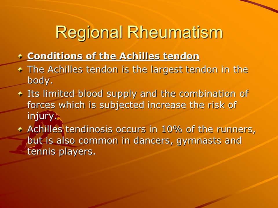 Conditions of the Achilles tendon The Achilles tendon is the largest tendon in the body.
