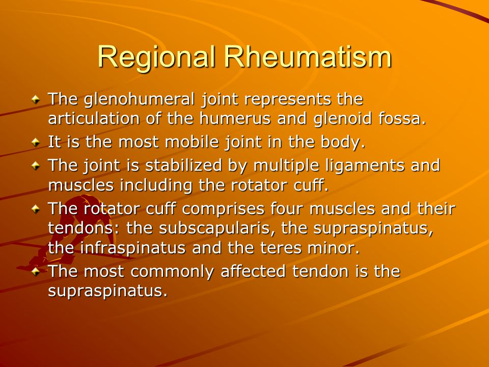 Regional Rheumatism The glenohumeral joint represents the articulation of the humerus and glenoid fossa.