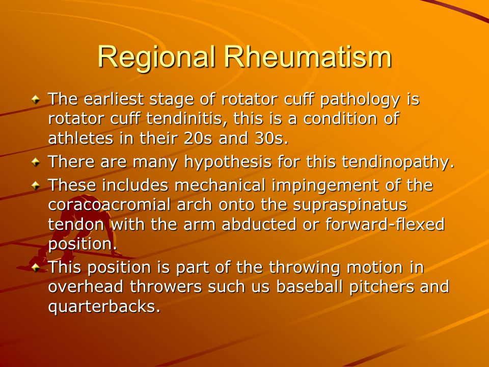Regional Rheumatism DE Quervain s Disease This is the name given to the tenosynovitis to the extensor tendons of the thumb.