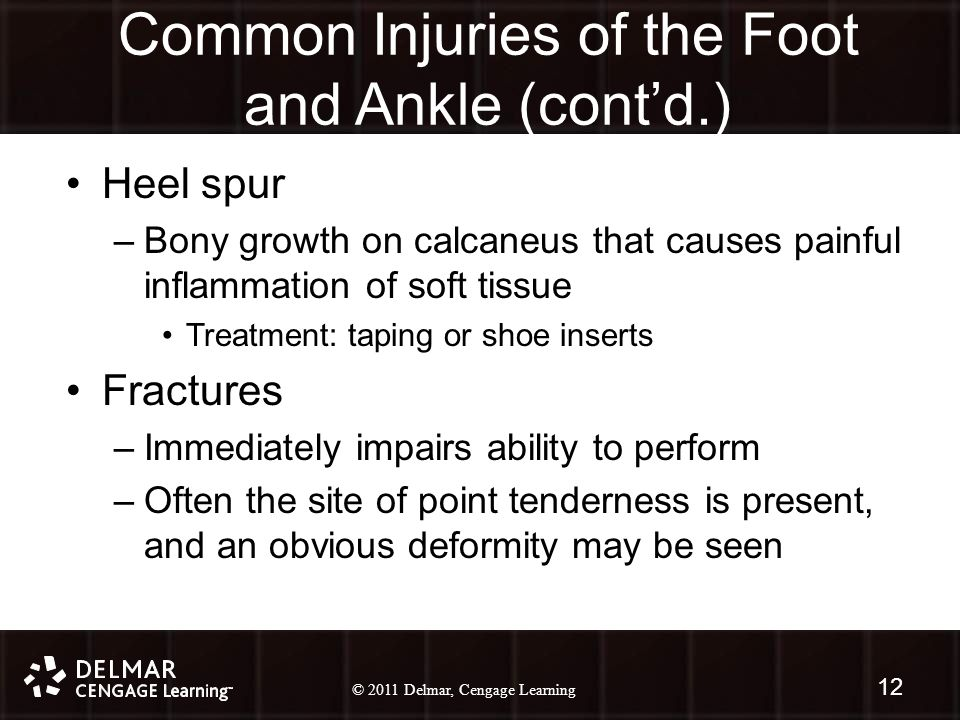 © 2010 Delmar, Cengage Learning 12 © 2011 Delmar, Cengage Learning Common Injuries of the Foot and Ankle (cont'd.) Heel spur –Bony growth on calcaneus that causes painful inflammation of soft tissue Treatment: taping or shoe inserts Fractures –Immediately impairs ability to perform –Often the site of point tenderness is present, and an obvious deformity may be seen 12