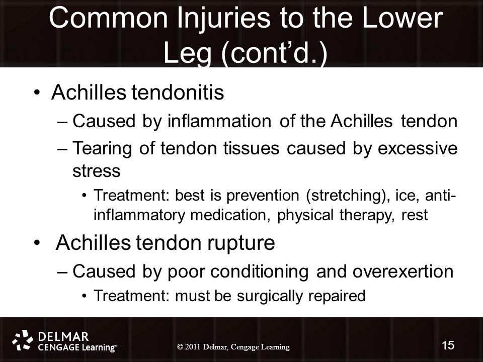 © 2010 Delmar, Cengage Learning 15 © 2011 Delmar, Cengage Learning Common Injuries to the Lower Leg (cont'd.) Achilles tendonitis –Caused by inflammation of the Achilles tendon –Tearing of tendon tissues caused by excessive stress Treatment: best is prevention (stretching), ice, anti- inflammatory medication, physical therapy, rest Achilles tendon rupture –Caused by poor conditioning and overexertion Treatment: must be surgically repaired 15