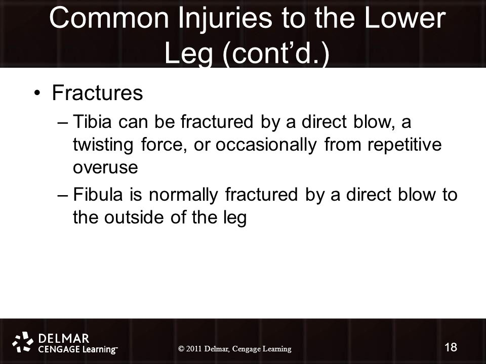 © 2010 Delmar, Cengage Learning 18 © 2011 Delmar, Cengage Learning Common Injuries to the Lower Leg (cont'd.) Fractures –Tibia can be fractured by a d
