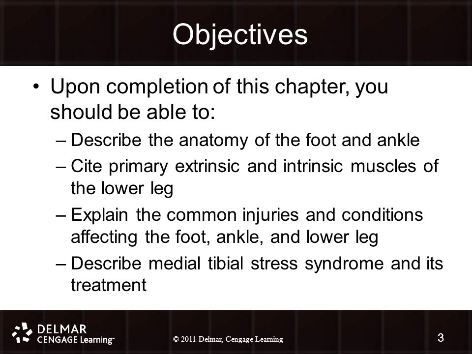 © 2010 Delmar, Cengage Learning 3 © 2011 Delmar, Cengage Learning Objectives Upon completion of this chapter, you should be able to: –Describe the anatomy of the foot and ankle –Cite primary extrinsic and intrinsic muscles of the lower leg –Explain the common injuries and conditions affecting the foot, ankle, and lower leg –Describe medial tibial stress syndrome and its treatment 3