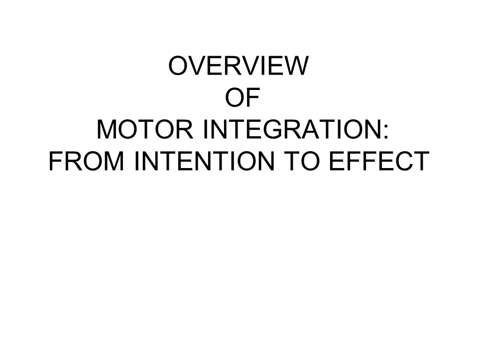 OVERVIEW OF MOTOR INTEGRATION: FROM INTENTION TO EFFECT