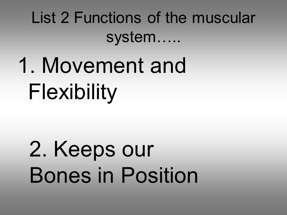 List 2 Functions of the muscular system….. 1. Movement and Flexibility 2.