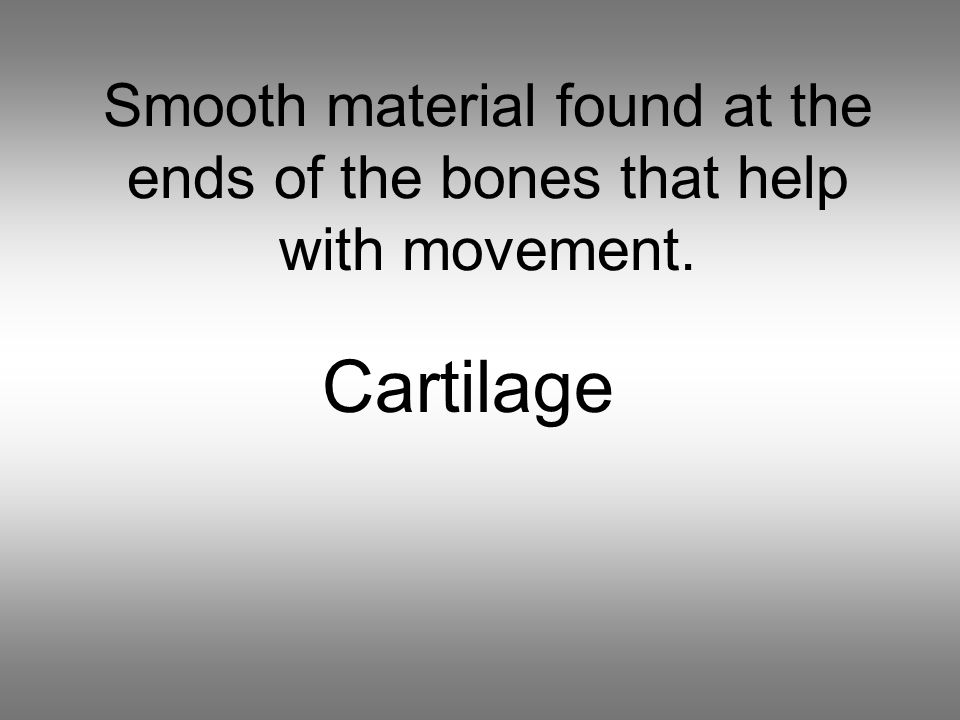 Smooth material found at the ends of the bones that help with movement. Cartilage