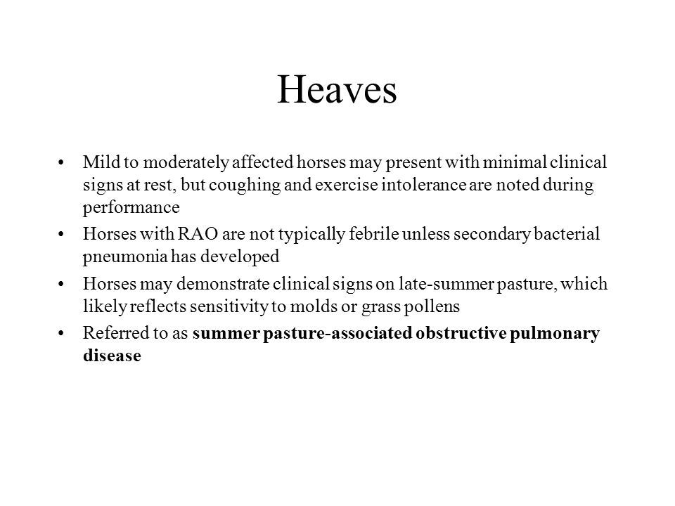 Heaves Mild to moderately affected horses may present with minimal clinical signs at rest, but coughing and exercise intolerance are noted during perf