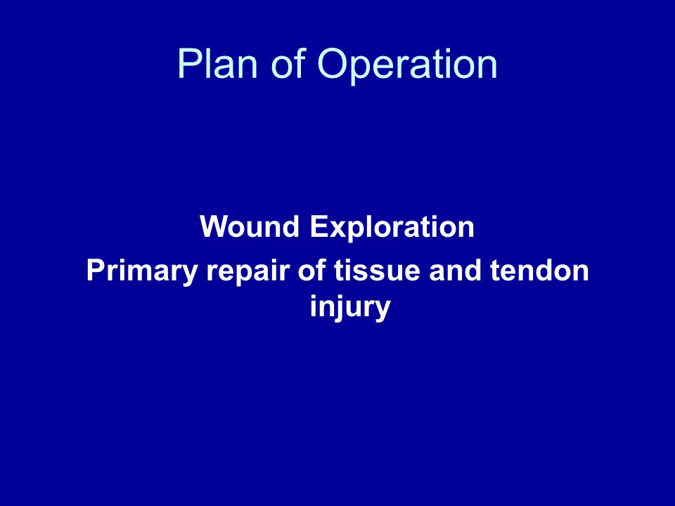 Plan of Operation Wound Exploration Primary repair of tissue and tendon injury