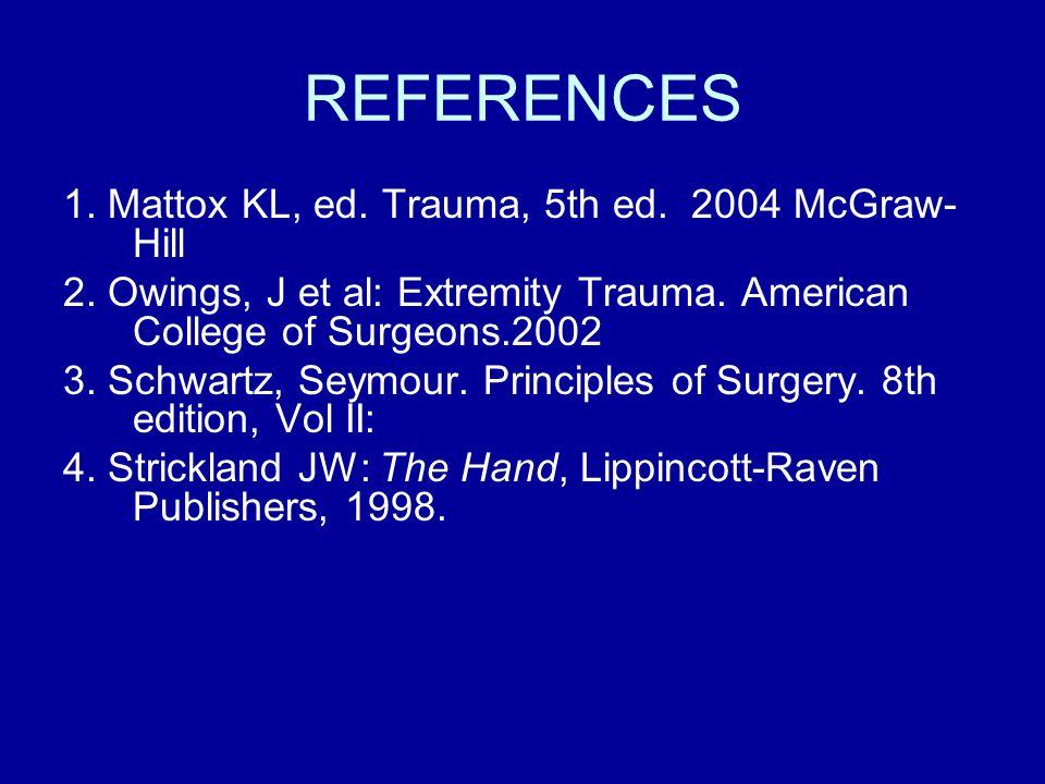 REFERENCES 1. Mattox KL, ed. Trauma, 5th ed. 2004 McGraw- Hill 2.