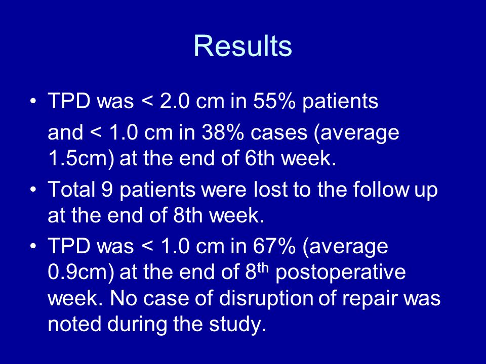 Results TPD was < 2.0 cm in 55% patients and < 1.0 cm in 38% cases (average 1.5cm) at the end of 6th week.
