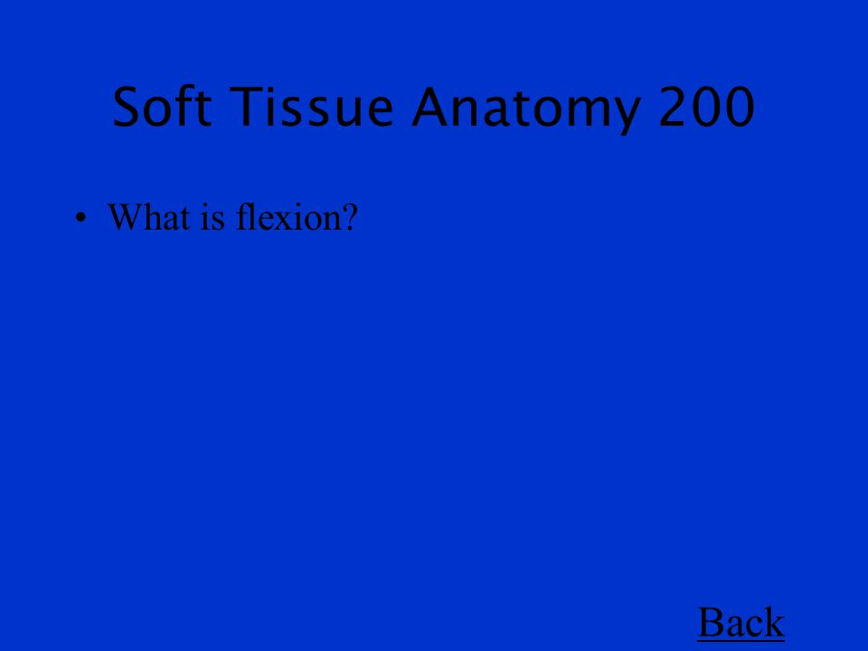 Soft Tissue Anatomy 200 What is flexion Back