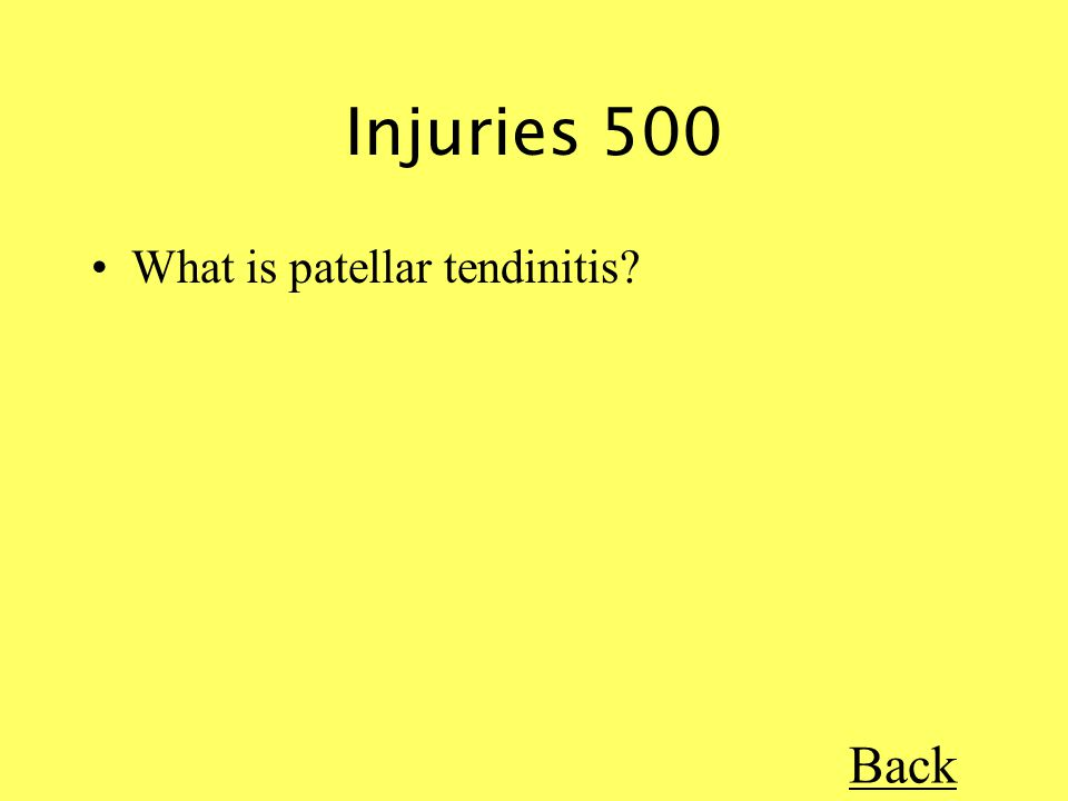 Injuries 500 What is patellar tendinitis Back