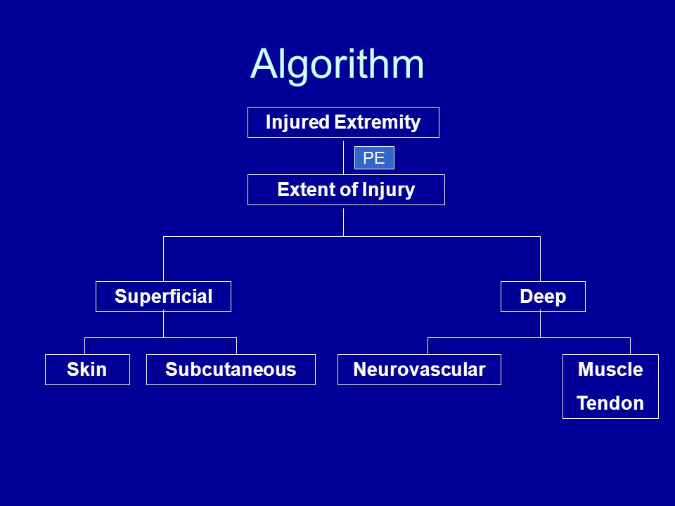 Algorithm Injured Extremity SuperficialDeep Extent of Injury SkinSubcutaneousNeurovascularMuscle Tendon PE
