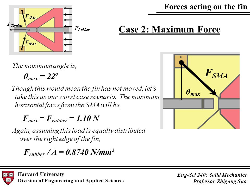 Forces acting on the fin Harvard University Division of Engineering and Applied Sciences Eng-Sci 240: Solid Mechanics Professor Zhigang Suo F SMA The maximum angle is, θ max = 22 o F max = F rubber = 1.10 N Though this would mean the fin has not moved, let's take this as our worst case scenario.
