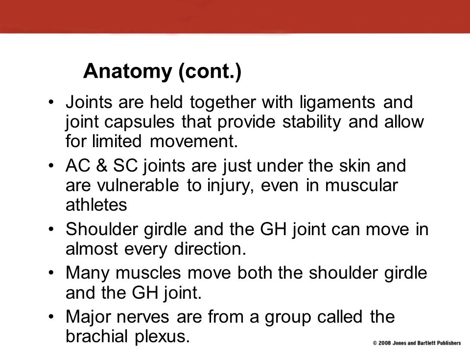 Glenohumeral Joint Injuries (cont.) Signs and symptoms include: Shoulder joint deformity and down- sloping shoulder contour.