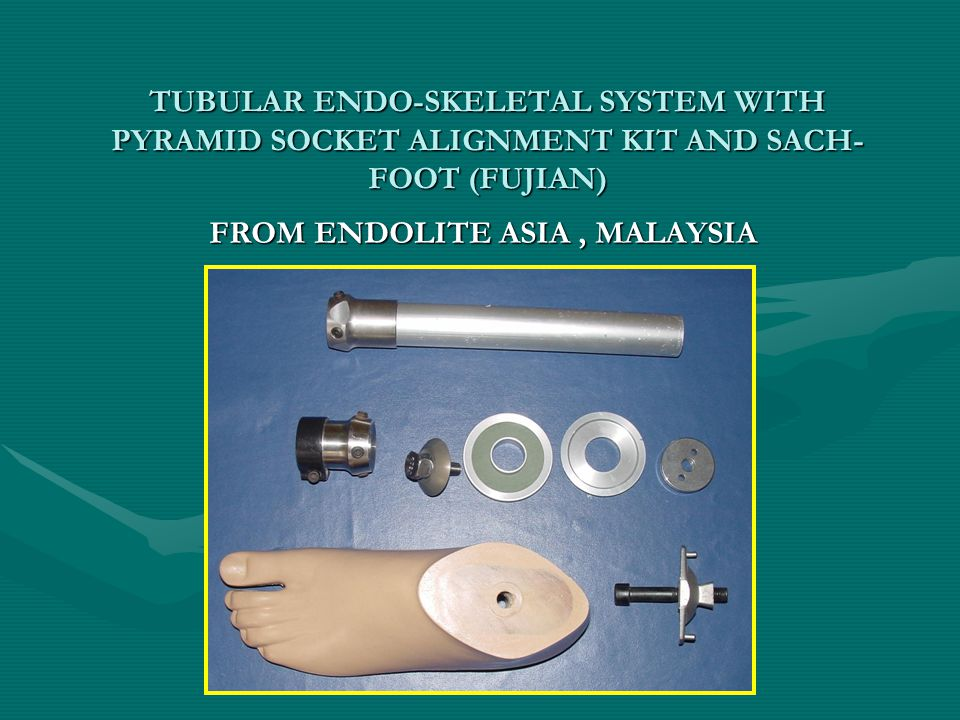 TUBULAR ENDO-SKELETAL SYSTEM WITH PYRAMID SOCKET ALIGNMENT KIT AND SACH- FOOT (FUJIAN) FROM ENDOLITE ASIA, MALAYSIA