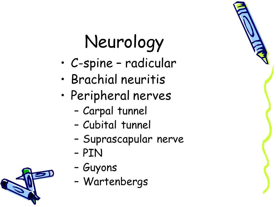 Neurology C-spine – radicular Brachial neuritis Peripheral nerves –Carpal tunnel –Cubital tunnel –Suprascapular nerve –PIN –Guyons –Wartenbergs