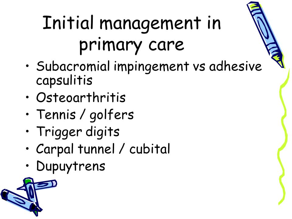 Initial management in primary care Subacromial impingement vs adhesive capsulitis Osteoarthritis Tennis / golfers Trigger digits Carpal tunnel / cubital Dupuytrens