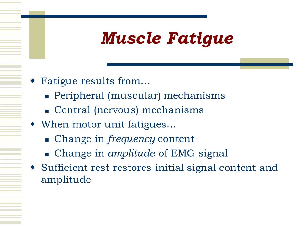 Muscle Fatigue  Fatigue results from… Peripheral (muscular) mechanisms Central (nervous) mechanisms  When motor unit fatigues… Change in frequency content Change in amplitude of EMG signal  Sufficient rest restores initial signal content and amplitude