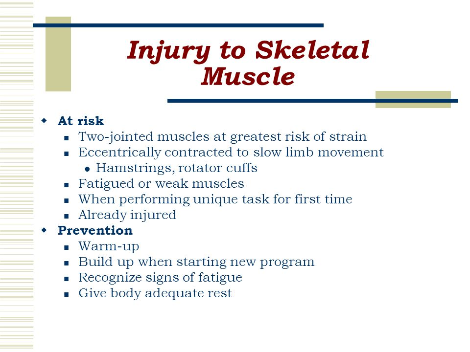 Injury to Skeletal Muscle  At risk Two-jointed muscles at greatest risk of strain Eccentrically contracted to slow limb movement Hamstrings, rotator cuffs Fatigued or weak muscles When performing unique task for first time Already injured  Prevention Warm-up Build up when starting new program Recognize signs of fatigue Give body adequate rest