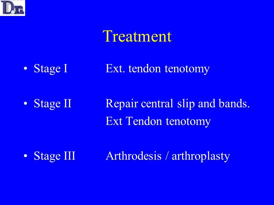 Treatment Stage IExt. tendon tenotomy Stage IIRepair central slip and bands.