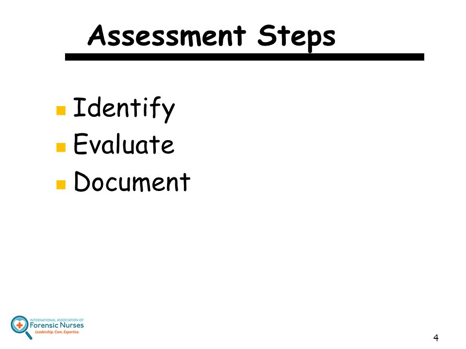 Assessment Steps Identify Evaluate Document 4