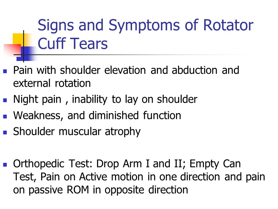 Signs and Symptoms of Rotator Cuff Tears Pain with shoulder elevation and abduction and external rotation Night pain, inability to lay on shoulder Wea