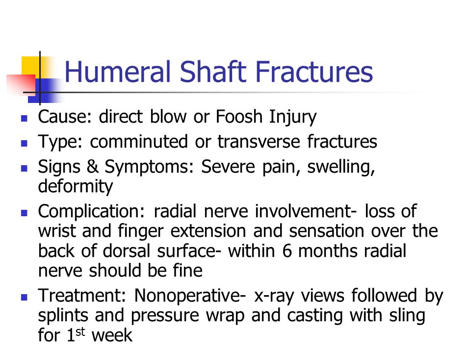 Cause: direct blow or Foosh Injury Type: comminuted or transverse fractures Signs & Symptoms: Severe pain, swelling, deformity Complication: radial ne