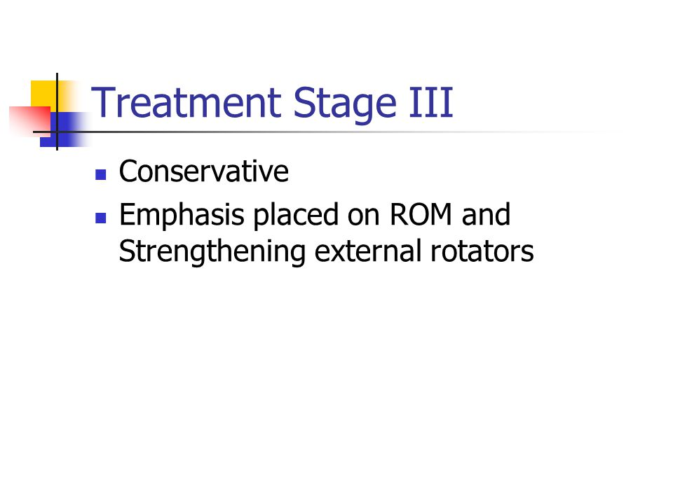 Treatment Stage III Conservative Emphasis placed on ROM and Strengthening external rotators