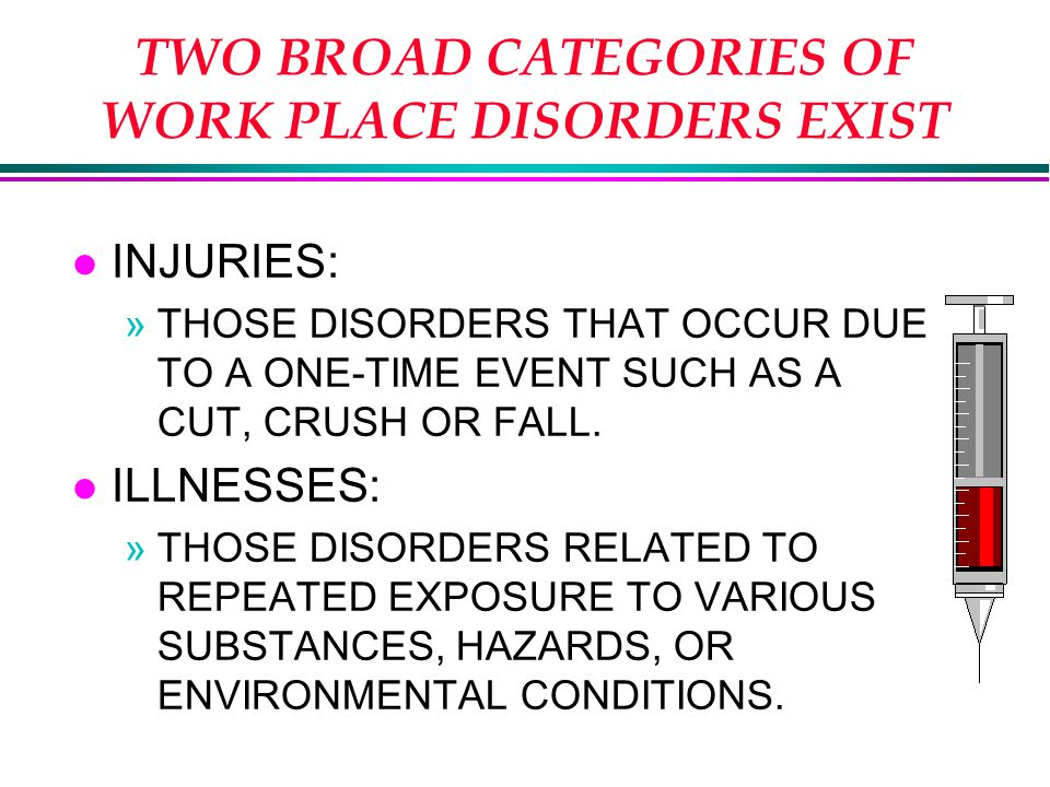 TWO BROAD CATEGORIES OF WORK PLACE DISORDERS EXIST l INJURIES: »THOSE DISORDERS THAT OCCUR DUE TO A ONE-TIME EVENT SUCH AS A CUT, CRUSH OR FALL.