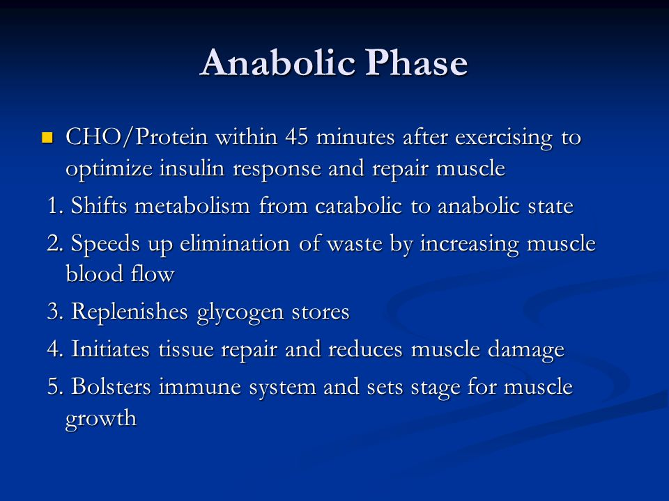 Anabolic Phase CHO/Protein within 45 minutes after exercising to optimize insulin response and repair muscle CHO/Protein within 45 minutes after exercising to optimize insulin response and repair muscle 1.