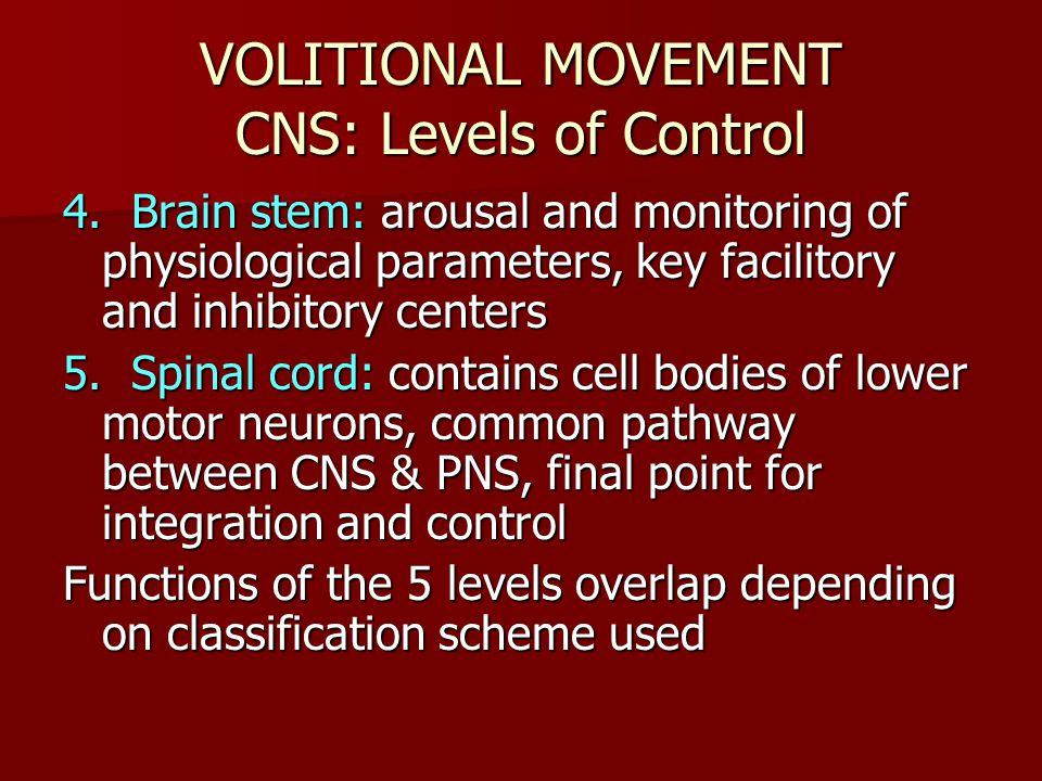 VOLITIONAL MOVEMENT CNS: Levels of Control 4.