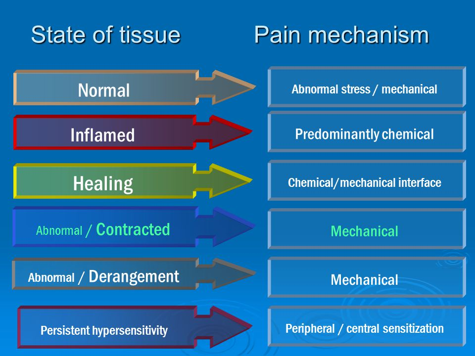 State of tissue Pain mechanism Inflamed Normal Healing Abnormal / Contracted Abnormal / Derangement Persistent hypersensitivity Abnormal stress / mech