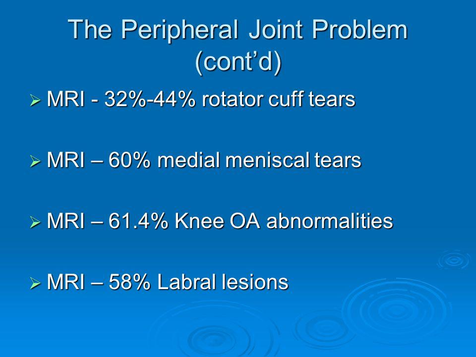 The Peripheral Joint Problem (cont'd)  MRI - 32%-44% rotator cuff tears  MRI – 60% medial meniscal tears  MRI – 61.4% Knee OA abnormalities  MRI – 58% Labral lesions