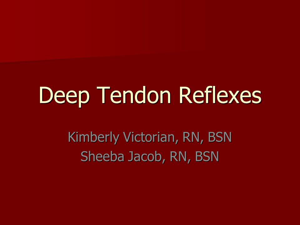 Deep Tendon Reflexes Kimberly Victorian, RN, BSN Sheeba Jacob, RN, BSN