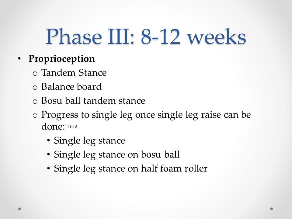 Phase III: 8-12 weeks Proprioception o Tandem Stance o Balance board o Bosu ball tandem stance o Progress to single leg once single leg raise can be d