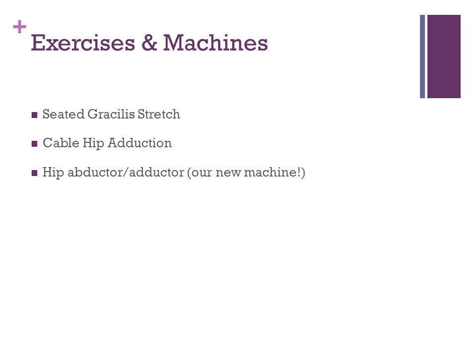 + Exercises & Machines Seated Gracilis Stretch Cable Hip Adduction Hip abductor/adductor (our new machine!)