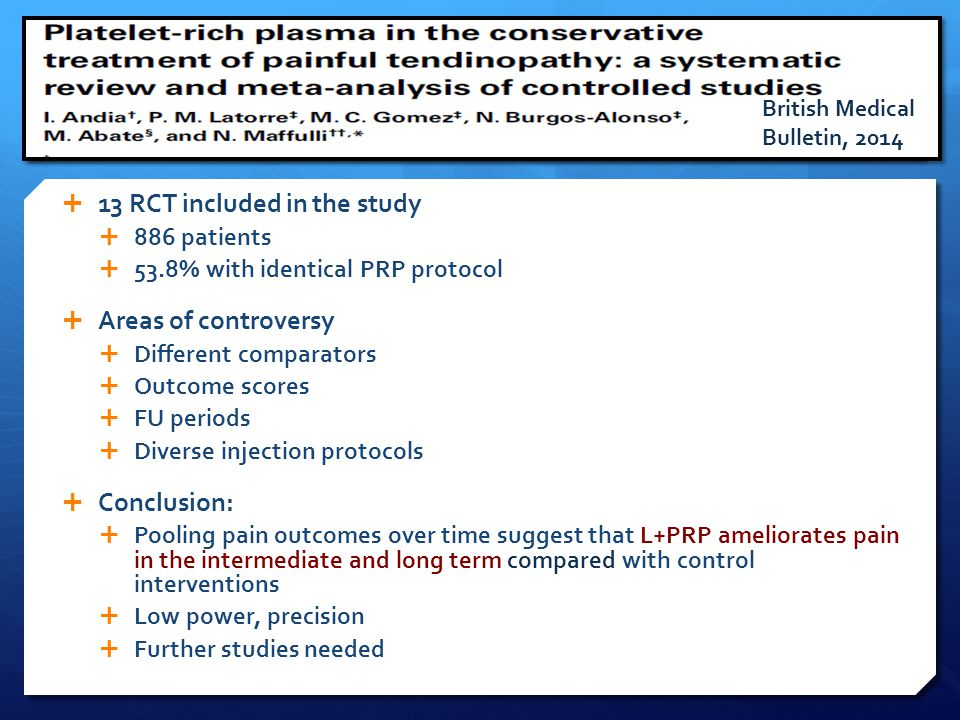  13 RCT included in the study  886 patients  53.8% with identical PRP protocol  Areas of controversy  Different comparators  Outcome scores  FU