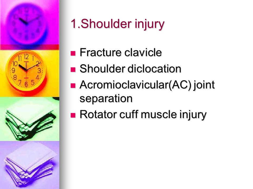 1.Shoulder injury Fracture clavicle Fracture clavicle Shoulder diclocation Shoulder diclocation Acromioclavicular(AC) joint separation Acromioclavicular(AC) joint separation Rotator cuff muscle injury Rotator cuff muscle injury