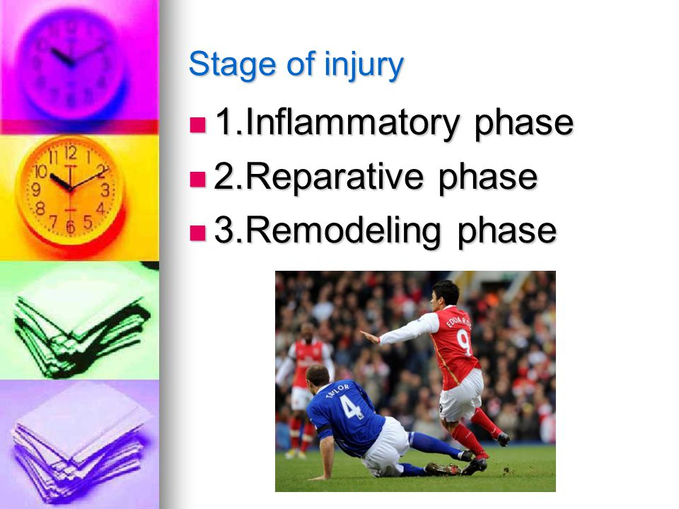 Stage of injury 1.Inflammatory phase 1.Inflammatory phase 2.Reparative phase 2.Reparative phase 3.Remodeling phase 3.Remodeling phase