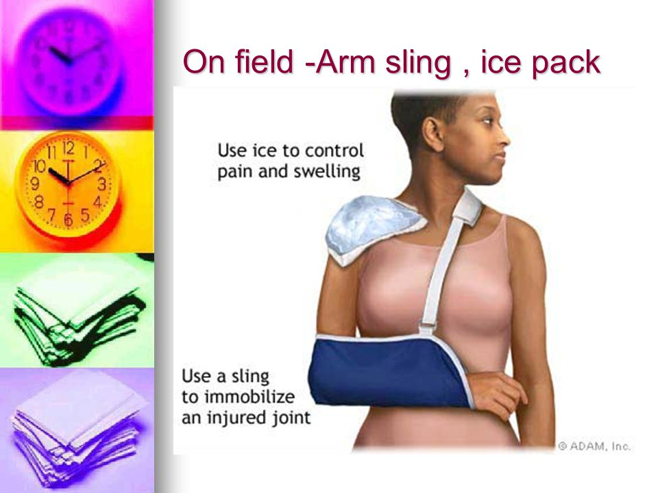 On field -Arm sling, ice pack