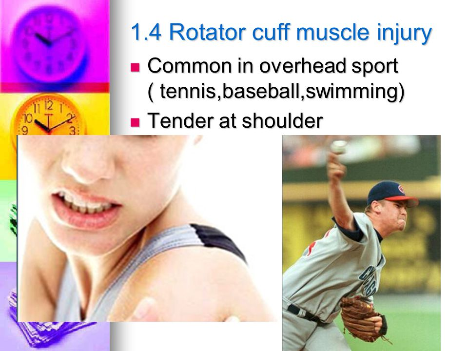 1.4 Rotator cuff muscle injury Common in overhead sport ( tennis,baseball,swimming) Common in overhead sport ( tennis,baseball,swimming) Tender at shoulder Tender at shoulder