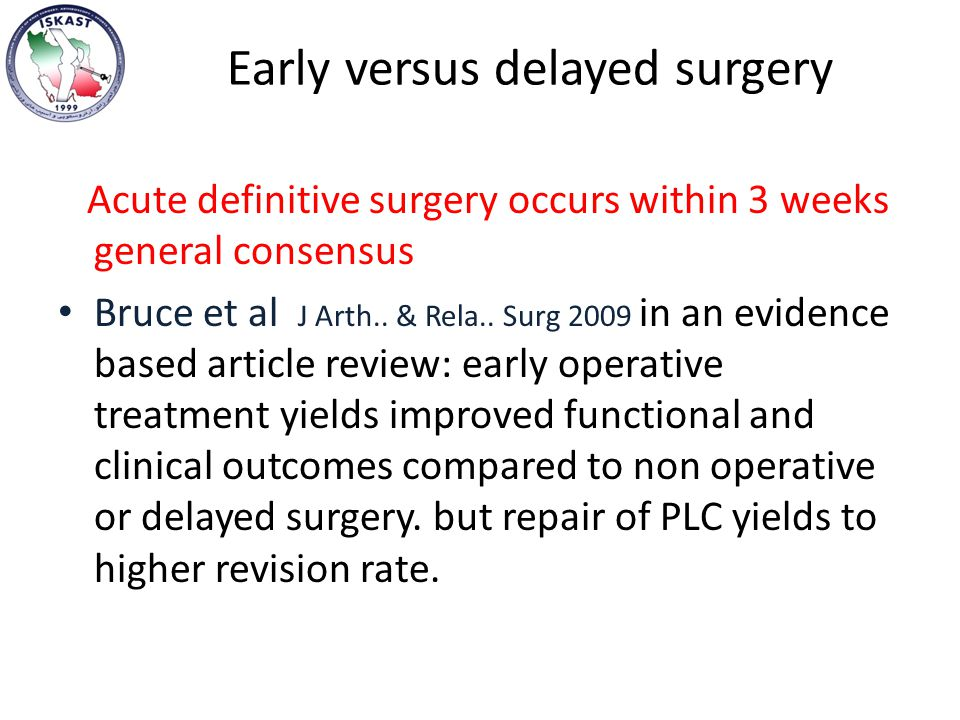 Early versus delayed surgery Acute definitive surgery occurs within 3 weeks general consensus Bruce et al J Arth..
