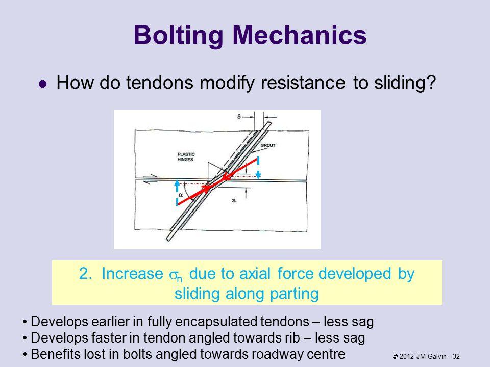 Bolting Mechanics How do tendons modify resistance to sliding.