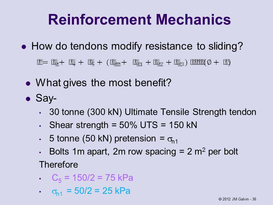 Reinforcement Mechanics How do tendons modify resistance to sliding.