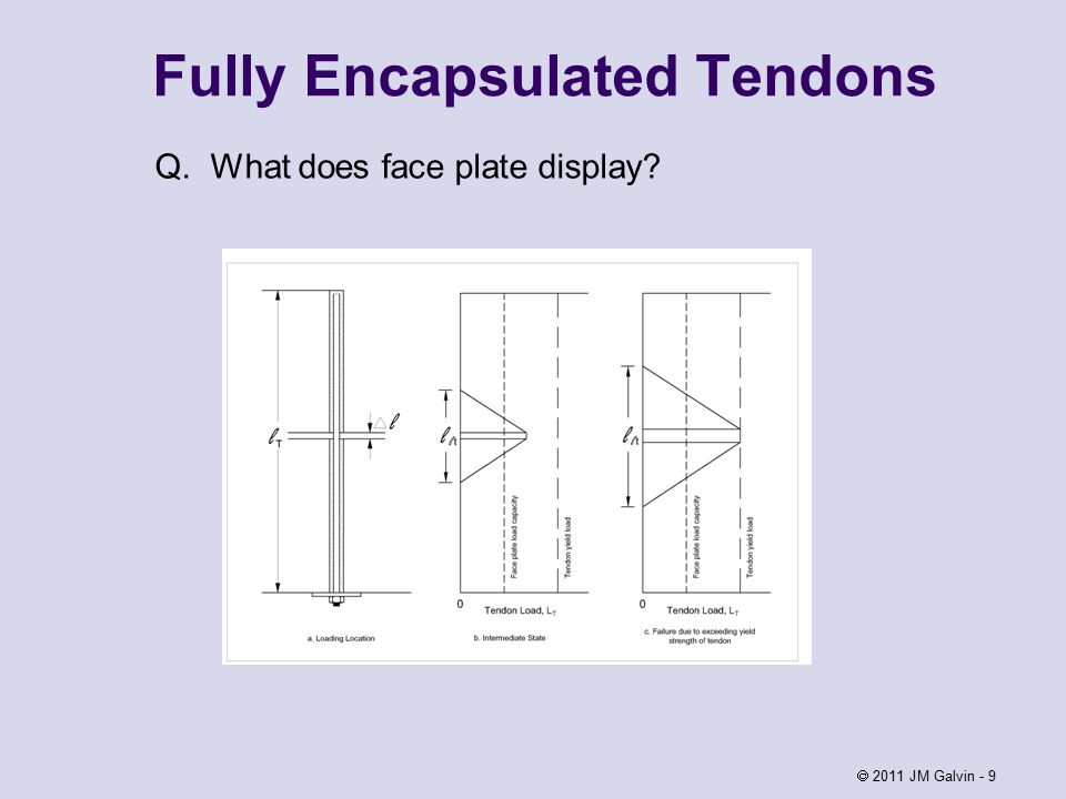Fully Encapsulated Tendons Q. What does face plate display  2011 JM Galvin - 9