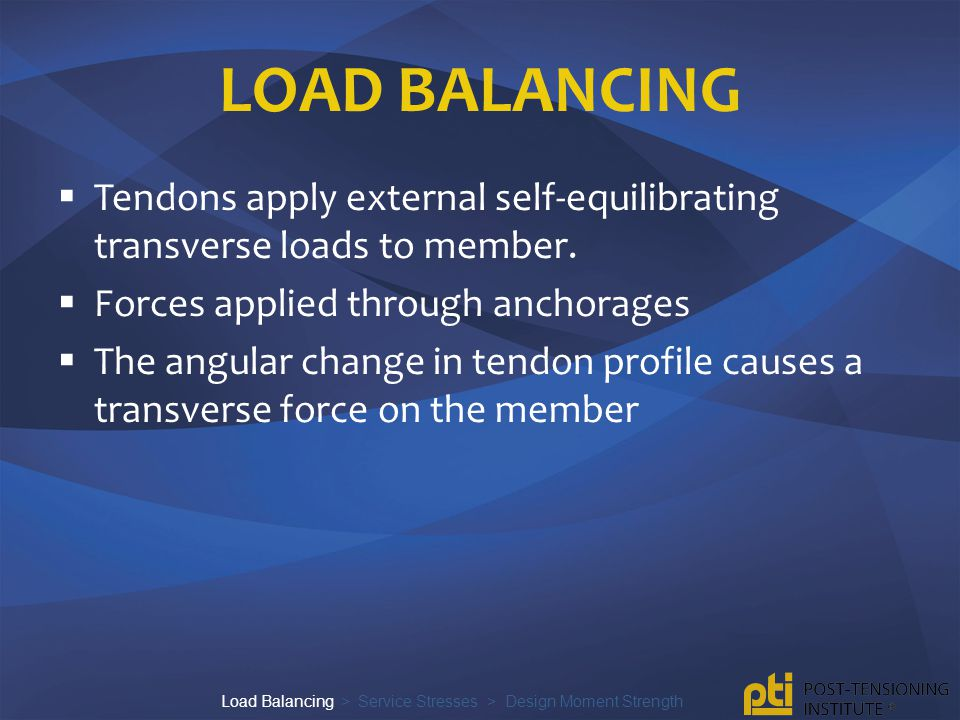 LOAD BALANCING  Transverse forces from tendon balances structural dead loads.